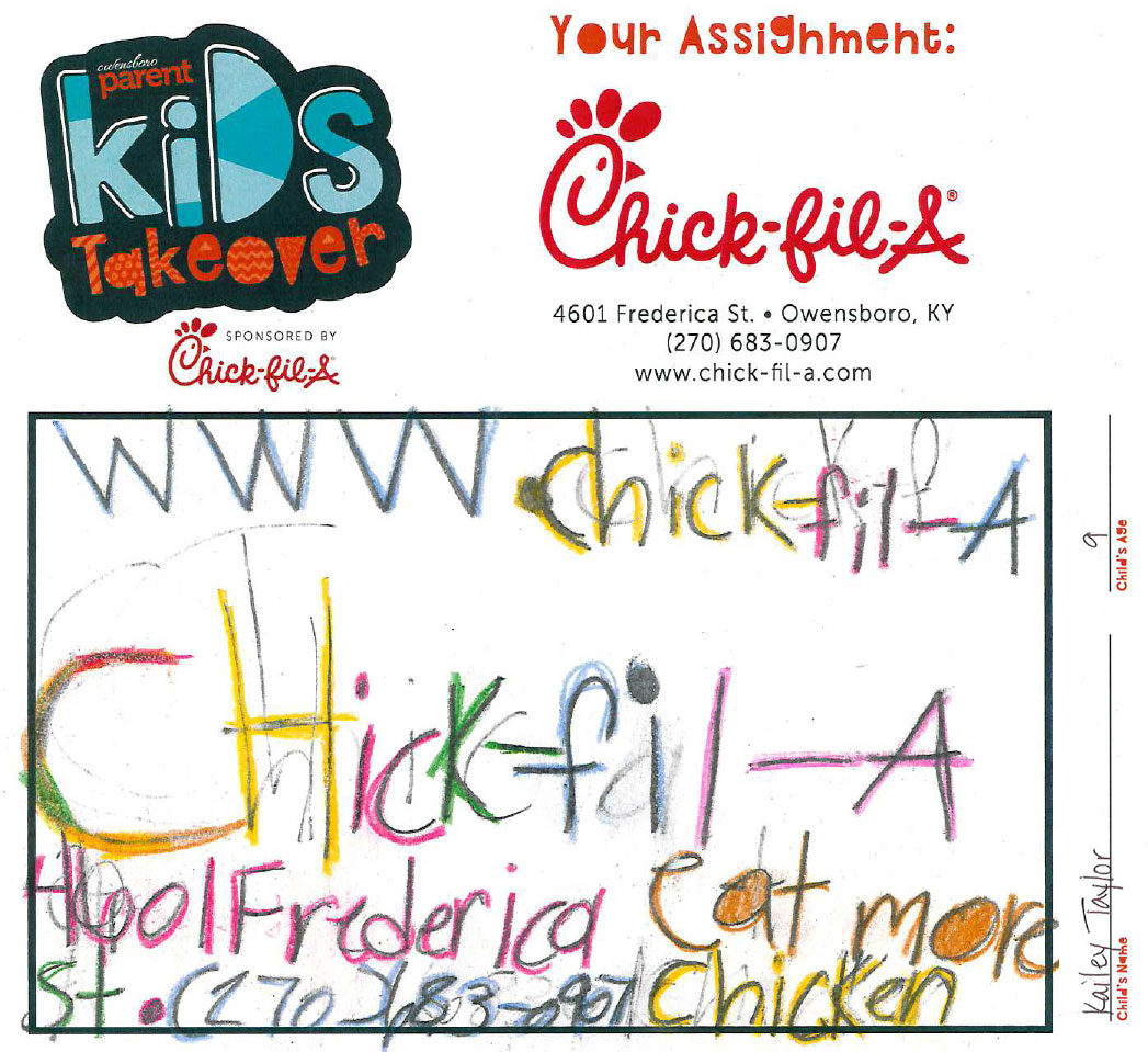 2018 Kid\'s Takeover Ad Design Contest – Chick-fil-A Ad Submissions ...