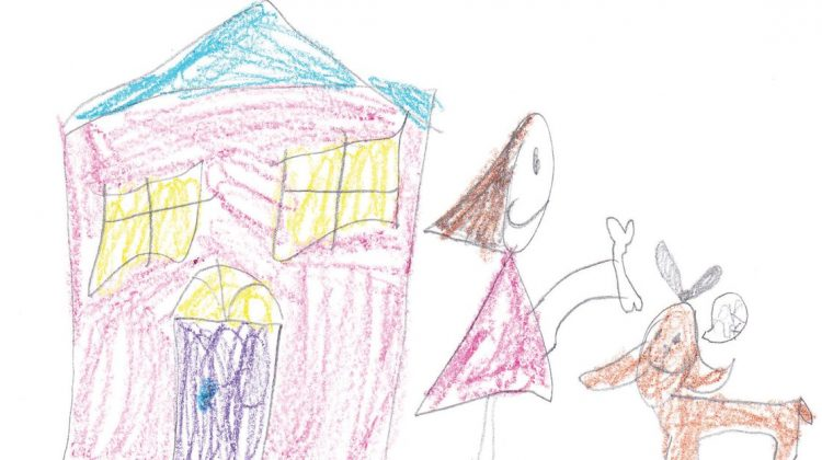 Kids Drawing of Girl Giving a Dog a Bone with House