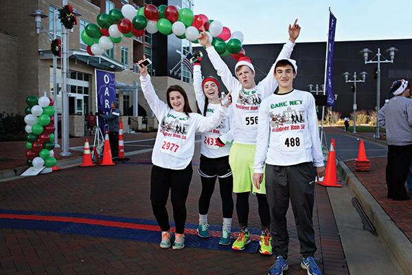 Runners at finish line of Carenet Reindeer Run 5K