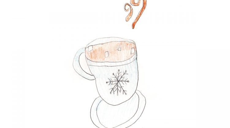 Drawing of steamy hot chocolate in mug