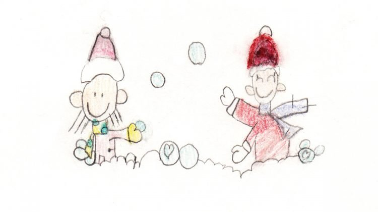 Drawing of boy and girl having snowball fight