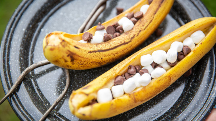 Campfire banana boats with marshmallows and chocolate chips