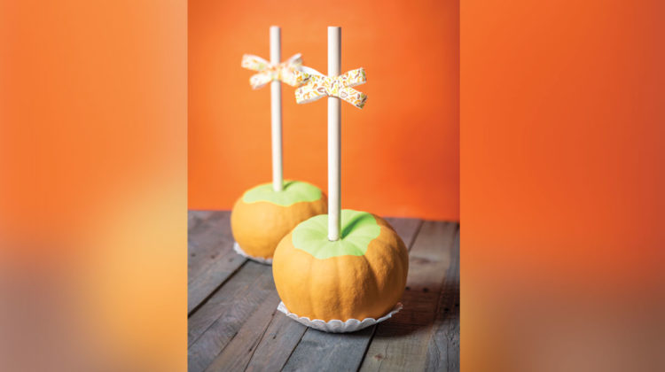 DIY pumpkin craft that looks like caramel apple