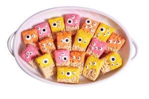 Rice krispie treats that look like little monsters